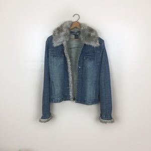[Kenzie Jeans] Denim Faux Fur Collar Jacket